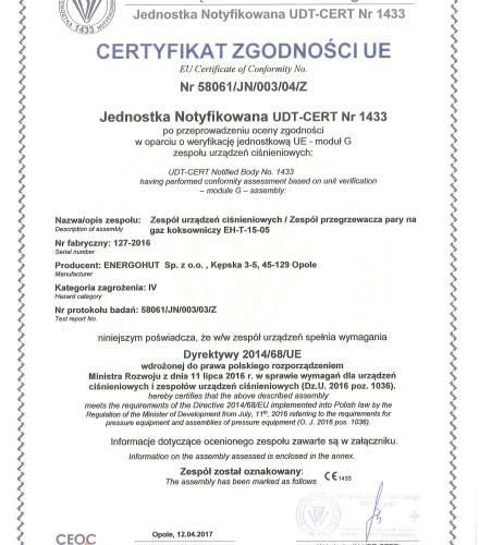 Projekt wraz z dostawą Przegrzewacza pary na gaz koksowniczy dla Koksowni Częstochowa Nowa Sp. z o.o.
